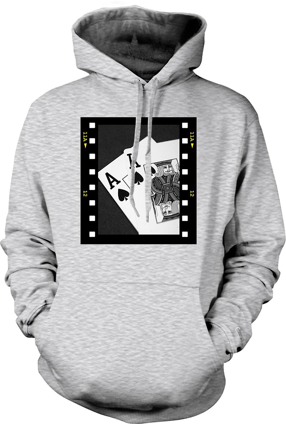 Mens Hoodie - Poker-Hand-Black-Jack-Ass-König