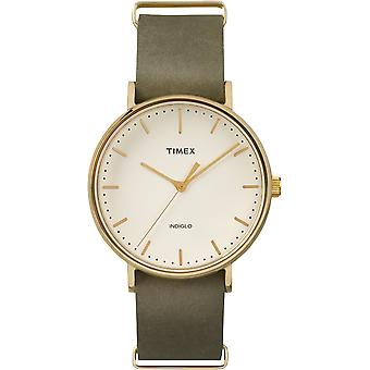 Placcato oro Timex Weekender Green Leather Strap Watch Unisex TW2P98000 41mm