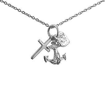 Tre sølv 15x4mm vedhæng eller charme symboler for tro håb og kærlighed med en 1mm bred rolo kæde 14 inches kun egnet til børn