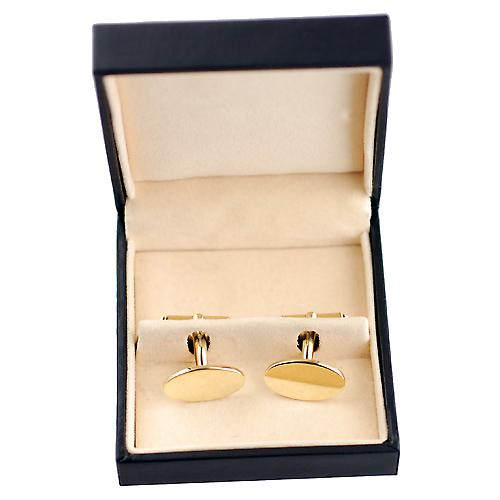 18ct Gold 19x11mm oval plain swivel Cufflinks