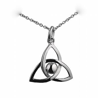 Silver 18x20mm Trinity knot Pendant with a curb Chain 18 inches