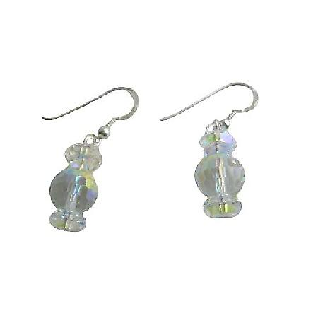 AB Swarovski Crystal & AB Crystal Spacer Sterling Silver 92.5 Earrings