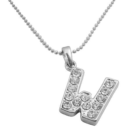 Inexpensive Diamante Letter Pendant Letter W Shimmering Pendant