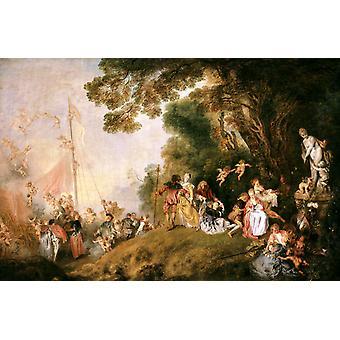 Fellesvandring til Kythira, Jean-Antoine Watteau, 40x60cm med brett