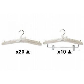 HANGER OFFER:Padded Hanger Pack B in Ivory Satin 50% Off Caraselle