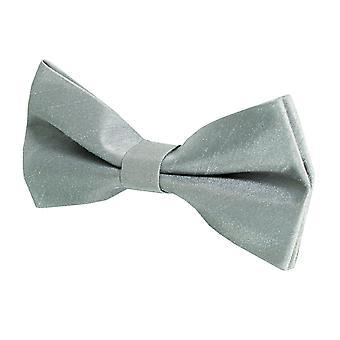 Dobell Boys Silver Bow Tie Dupion Satin-Feel Pre-Tied