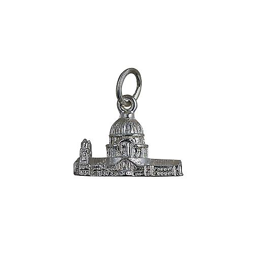 Silver 11x17mm hollow St. Paul's Cathedral Pendant or Charm