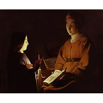 Uddannelse af Virgin, Georges de La Tour, 50x40cm