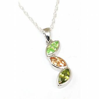 Jsuk Sterling Silver Triple Leaf Pear Shape Multi Cz Pendant