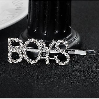 Silver oversized slogan crystal hair clip