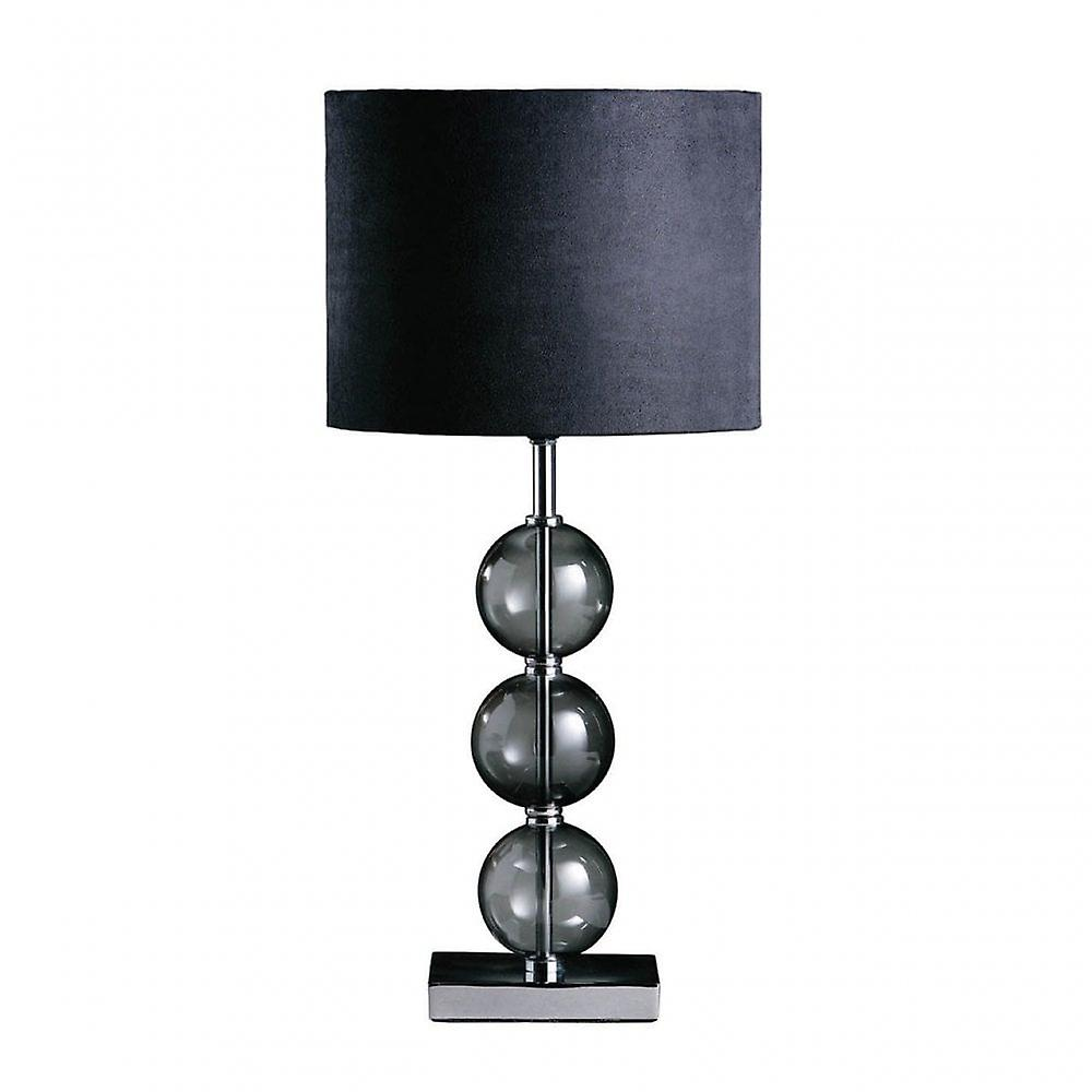 Premier Home Mistro Table Lamp - EU Plug, Chromed Glass, Black