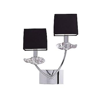 Mantra Akira Wall Lamp Switched 2 Light E14, Polished Chrome With Black Shades