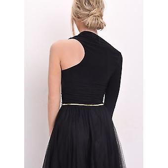 Slit One Sleeve Slinky Bodysuit Black