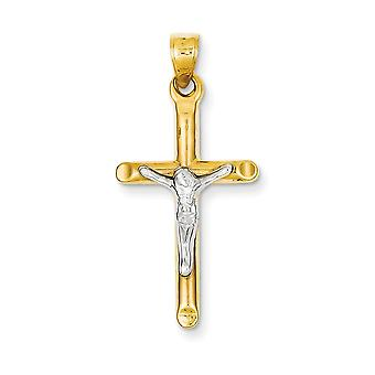 14k Two-Tone Polished Gold Hollow Crucifix Pendant - 1.0 Grams - Measures 35.6x17mm