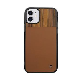 Eco Leather iPhone 11 Case Genuine Wood Back Shell Brown