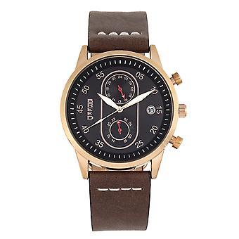 Breed Andreas Leather-Band Watch w/ Date - Rose Gold/Dark Brown