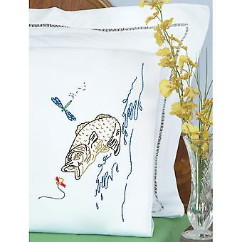 Stamped Pillowcases With White Perle Edge 2 Pkg Fish 1600 498