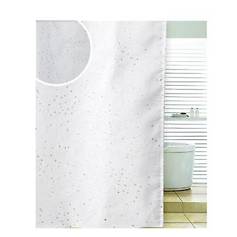 Diamante Spiral White Polyester Shower Curtain 180 x 180cm