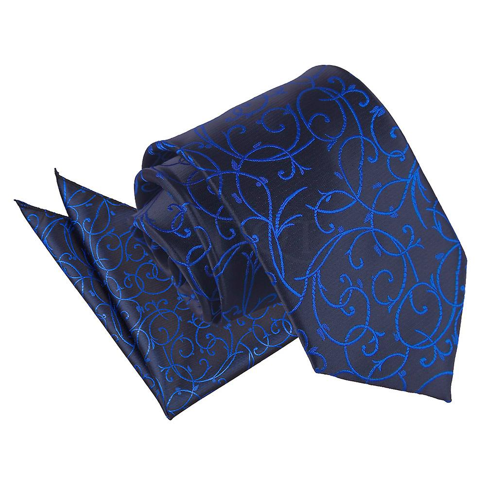 Black & Blue Swirl Patterned Tie and Pocket Square Set
