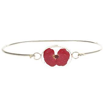 Bracelet de fleur de coquelicot rouge Violet argent Sterling hurlante