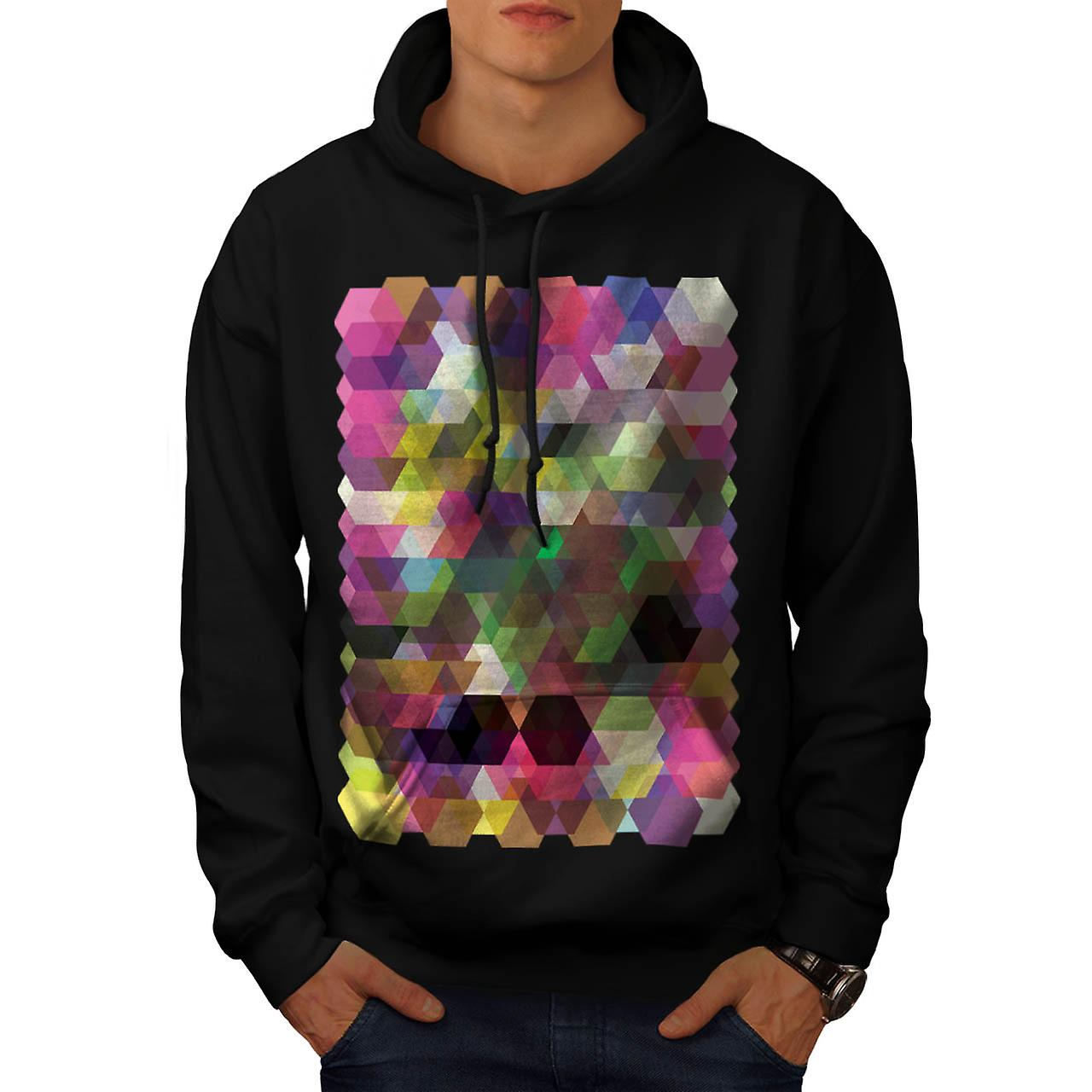 Polygon Colour Shape Crazy Pattern Men Black Hoodie | Wellcoda