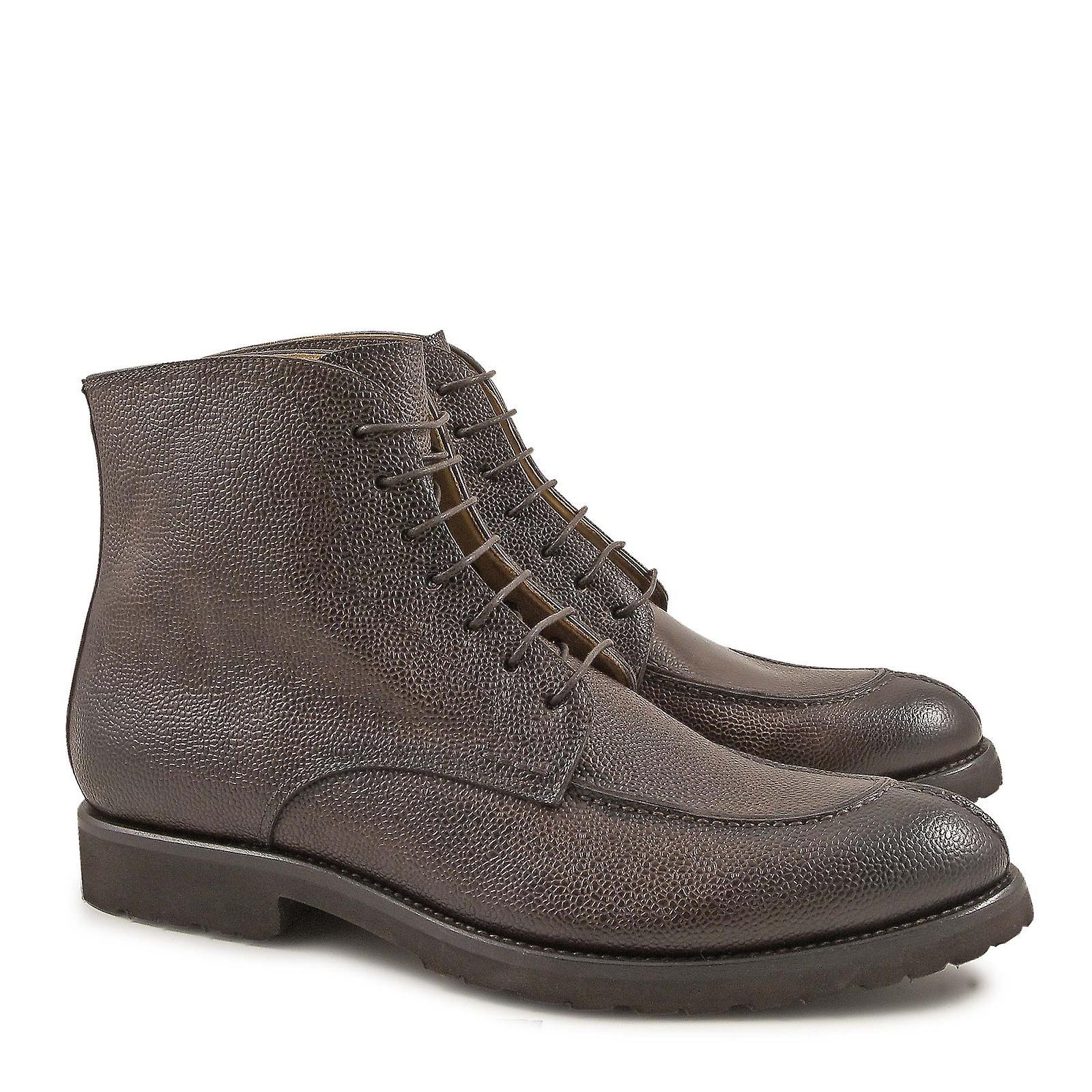 Italiano degli uomini handmade vestire stivali in pelle cioccolato