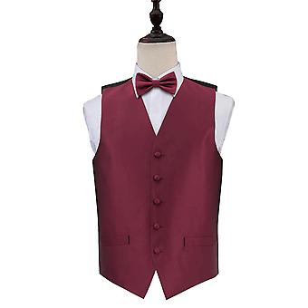 Burgundy Solid Check Wedding Waistcoat & Bow Tie Set