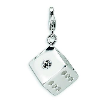 Sterling Silver Rhodium-plated Fancy Lobster Closure 3-D Crystal Die With Lobster Clasp Charm - Measures 29x17mm