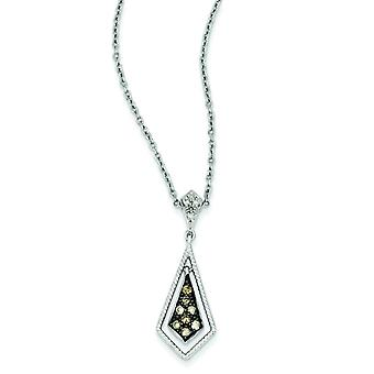 Sterling Silver Gift Boxed Cut-out sides Rhodium-plated Lobster Claw Closure Champagne Diamond Geometric Pendant