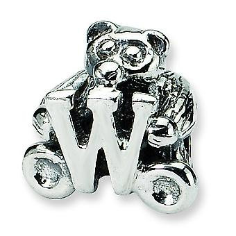 Sterling Silver Antique finish Reflections Kids Letter W Bead Charm