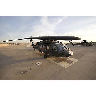 Baquba Irak - A UH-60 Blackhawk Medivac helikopter sitter i cockpit på Camp Warhorse affisch Skriv