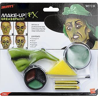 Smiffys Womens Witch Make Up Kit Halloween Fancy Dress Costume Accessory Green
