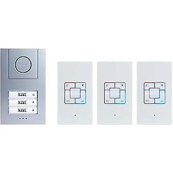 Door intercom Corded Complete kit m-e modern-electronics Vistus AD 4030 3 flat building Silver, White