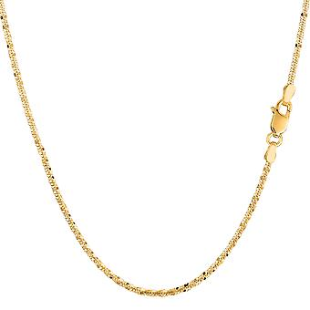 14k Yellow Gold Sparkle Chain Bracelet, 1.5mm, 7