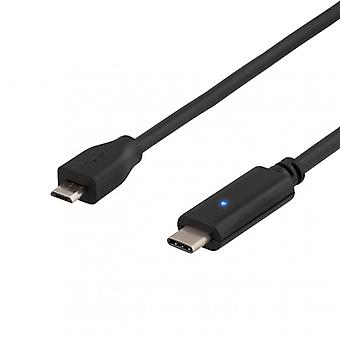 DELTACO USB 2.0 cable, Type C-type Micro B ha, 1 m, black