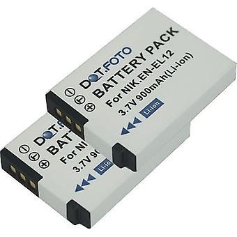 2 x Dot.Foto Nikon EN-EL12 vervangingsbatterij - 3.7V / 900mAh