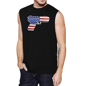 Pistol Shape American Flag Men Muscle Top Unique Fourth Of July Top