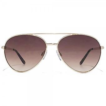 Carvela Diamante Temple Aviator Sunglasses In Shiny Pale Gold