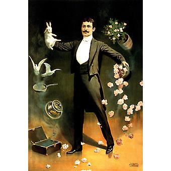 Zan Zig performing with rabbit and roses magician Poster Print Giclee