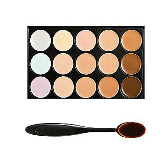 Boolavard Professional 15 Colour Concealer Camouflage Contour Eye Face Cream Makeup Palette with Cosmetics Oval Make up