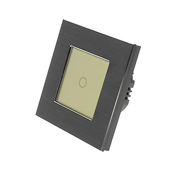 I LumoS Black Brushed Aluminium 1 Gang 1 Way Remote Touch LED Light Switch Gold Insert