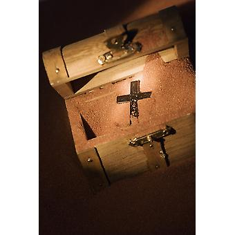 A Cross In A Wooden Box Poster Print by Darren Greenwood  Design Pics