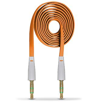 ONX3 (Orange) BlackBerry DTEK50 / BlackBerry Neon 3.5mm Stereo Male to Male Jack Plug Audio Aux Flat Cable Sound Lead Gold Connectors