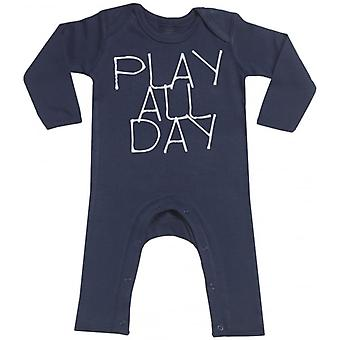Spoilt Rotten Play All Day Navy Baby Footless Romper