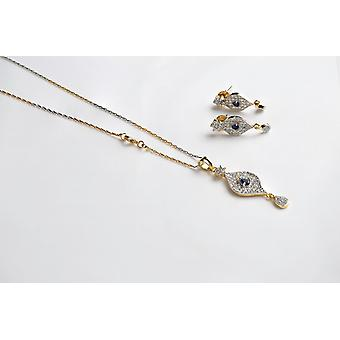 CUBIC ZIRCONIA & 18ct GOLD PLATED EARRINGS AND NECKLACE SET