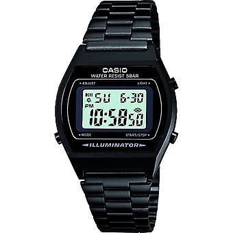 Casio Unisex Grey Dial Digital Display Watch with Black Stainless Steel Bracelet - Black