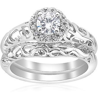 5/8ct Round Diamond Vintage Engagement Wedding Ring Set 14K White Gold