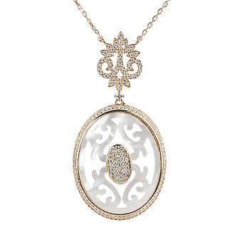 Carved White Mother Of Pearl Rosegold Necklace