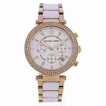 Michael Kors Watches Mk5774 Ladies Rose-gold & White Chronograph Watch