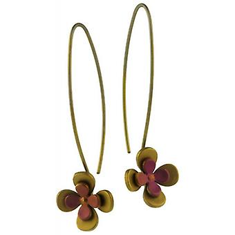 Ti2 Titanium Double Four Petal Flower Drop Earrings - Brown